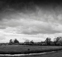 Rain over the floodplains of the Rhine near Wageningen, The Netherlands by M. van Oostrum