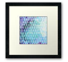 Blue Grungy Geometric Triangle Design Framed Print