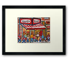 BEST SELLING MONTREAL PRINTS SCHWARTZ'S DELI MONTREAL ART BY CANADIAN ARTIST CAROLE SPANDAU Framed Print