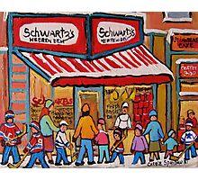 BEST SELLING MONTREAL PRINTS SCHWARTZ'S DELI MONTREAL ART BY CANADIAN ARTIST CAROLE SPANDAU Photographic Print