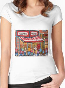 BEST SELLING MONTREAL PRINTS SCHWARTZ'S DELI MONTREAL ART BY CANADIAN ARTIST CAROLE SPANDAU Women's Fitted Scoop T-Shirt