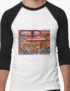 BEST SELLING MONTREAL PRINTS SCHWARTZ'S DELI MONTREAL ART BY CANADIAN ARTIST CAROLE SPANDAU Men's Baseball ¾ T-Shirt