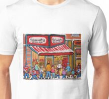 BEST SELLING MONTREAL PRINTS SCHWARTZ'S DELI MONTREAL ART BY CANADIAN ARTIST CAROLE SPANDAU Unisex T-Shirt