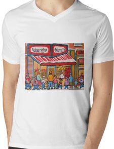 BEST SELLING MONTREAL PRINTS SCHWARTZ'S DELI MONTREAL ART BY CANADIAN ARTIST CAROLE SPANDAU Mens V-Neck T-Shirt