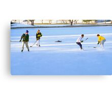 Teens Playing Ice Hockey Canvas Print
