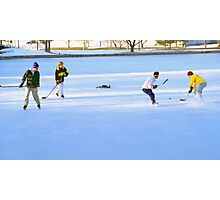 Teens Playing Ice Hockey Photographic Print