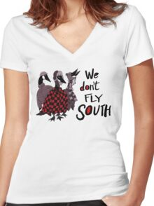 Oakland Geese don't fly South Women's Fitted V-Neck T-Shirt