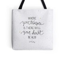"""Harry Potter """"Where your treasure is, there will your heart be also"""" Tote Bag"""