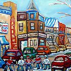 CANADIAN PAINTINGS CANADIAN HOCKEY ART OUR NATIONAL PASTIME by Carole  Spandau