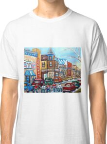 CANADIAN PAINTINGS CANADIAN HOCKEY ART OUR NATIONAL PASTIME Classic T-Shirt