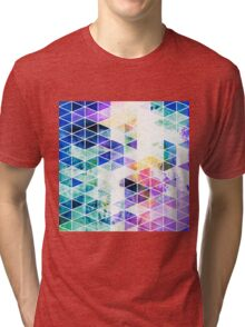 Grungy Bright Triangle Pattern Tri-blend T-Shirt