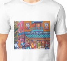 CANADIAN ART PAINTINGS OF KIDS PLAYING HOCKEY CANADIAN CULTURE  Unisex T-Shirt
