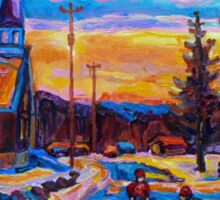 CANADIAN LANDSCAPE PAINTINGS HOCKEY PRACTICE ON THE COUNTRY ROAD BY CANADIAN ARTIST CAROLE SPANDAU Sticker