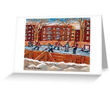 CANADIAN WINTER SCENES OUTDOOR HOCKEY GAME BY CANADIAN ARTIST CAROLE SPANDAU Greeting Card