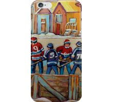 CANADIAN HOCKEY SCENES HOCKEY ART PAINTINGS BY CANADIAN ARTIST CAROLE SPANDAU iPhone Case/Skin