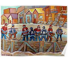 CANADIAN HOCKEY SCENES HOCKEY ART PAINTINGS BY CANADIAN ARTIST CAROLE SPANDAU Poster