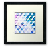 Grungy Blue Geometric Box Pattern Framed Print