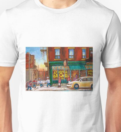 CANADIAN PAINTINGS BY CANADIAN ARTIST OF MONTREAL WINTER SCENES Unisex T-Shirt
