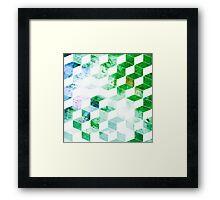 Grungy Green Geometric Box Pattern Framed Print