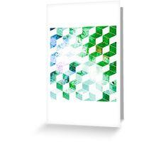 Grungy Green Geometric Box Pattern Greeting Card