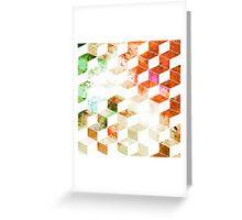 Grungy Orange/Green Geometric Box Pattern Greeting Card