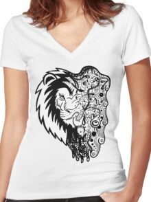 Psychedelly Lion Women's Fitted V-Neck T-Shirt