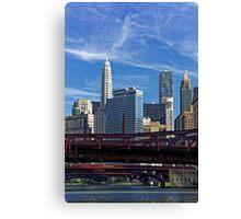Chicago river cruise view towards  Dearborn Street Bridge Canvas Print