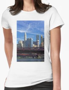 Chicago river cruise view towards  Dearborn Street Bridge Womens Fitted T-Shirt
