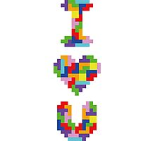 """I Love You"" - Tetris  Photographic Print"