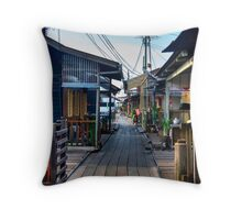 Clan jetty wooden houses Throw Pillow
