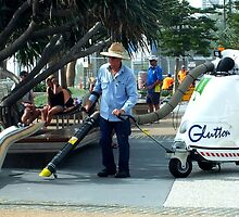 Man at work, Surfers Paradise, Qld, Australia by sandysartstudio