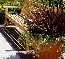 Sunny Garden Bench ~ Shopping Plaza, Southern California by Marie Sharp