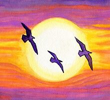 Seagulls Flying Over Flagler Beach by Roz Abellera Art Gallery