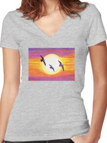 Seagulls Flying Over Flagler Beach Women's Fitted V-Neck T-Shirt