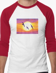 Seagulls Flying Over Flagler Beach Men's Baseball ¾ T-Shirt