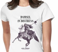 Damsel Not Even Remotely In Distress - Black Ink Womens Fitted T-Shirt