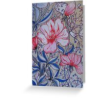 BLOOMING RED AND BLUE Greeting Card