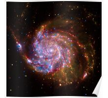 Hubble Space Telescope Print 0020 - Spitzer-Hubble-Chandra Composite of M101  - hs-2009-07-b-full_jpg Poster