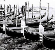 Gondolas Waiting  by Venice