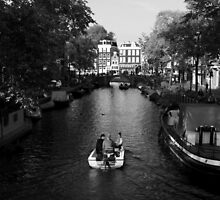 Boating On The Canals Of Amsterdam by aidan  moran