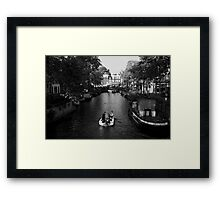 Boating On The Canals Of Amsterdam Framed Print