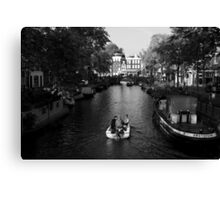 Boating On The Canals Of Amsterdam Canvas Print