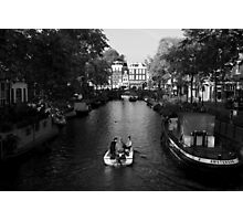 Boating On The Canals Of Amsterdam Photographic Print