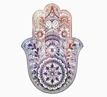 Fatima Hand Hamsa Purple Orange by ohdeer