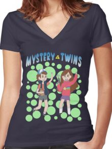 Mystery Twins Women's Fitted V-Neck T-Shirt