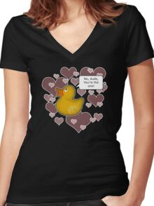 ♥ Rubber Ducky ♥ -girly Women's Fitted V-Neck T-Shirt