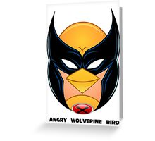 Angry Wolverine Bird Greeting Card