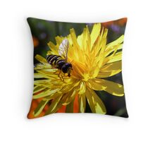 Flower with Wasp Throw Pillow