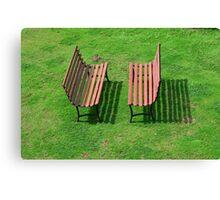 Two Garden Benches Canvas Print