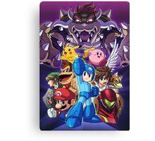 Super Smash Bros - Bowser, Megaman, Pikachu, Link, Mario, Samus, Fox, Kirby, Donkey kong Canvas Print